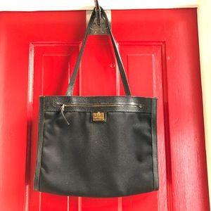 Salvatore Ferragamo Black Leather/Canvas Handbag